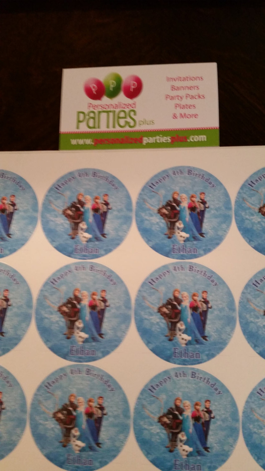 Frozen birthday plate and cup labels that are waterproof