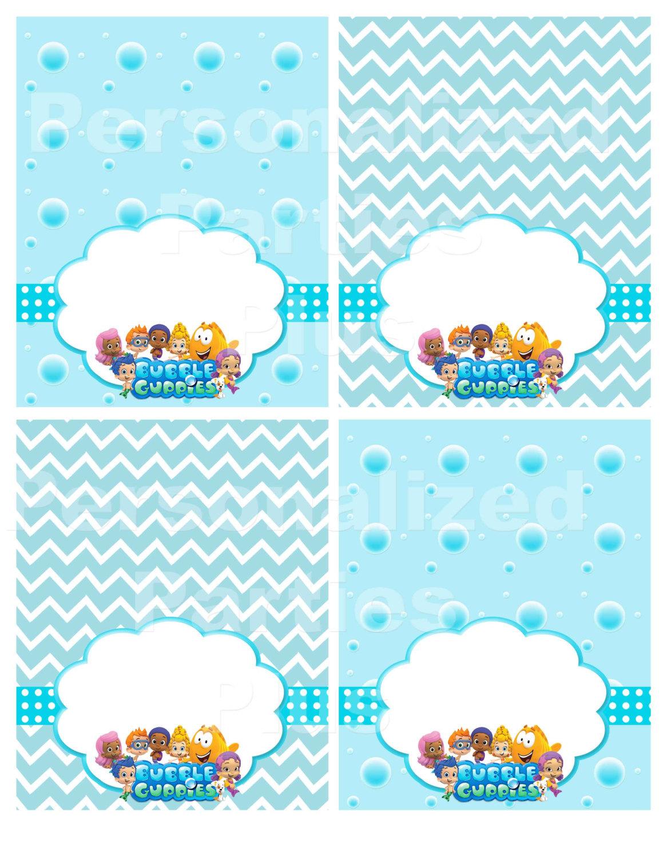 Bubble Guppies food tents for Birthday Party in aqua bubbles and aqua chevron: I
