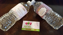 Pink striped Princess water bottle labels - $4.00