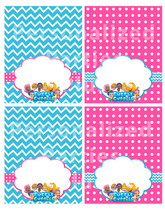 Bubble Guppies food tents in aqua and hot pink - $2.50