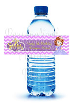 "Sofia the First ""Happy Birthday"" chevron water bottle labels: Downloadab... - $4.00"