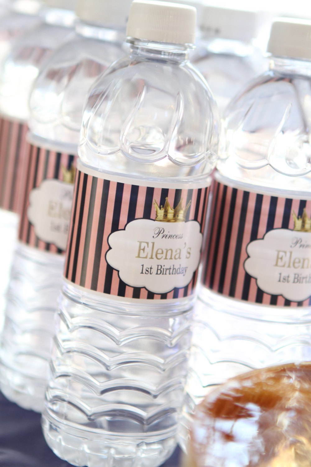 Pink striped Princess water bottle labels