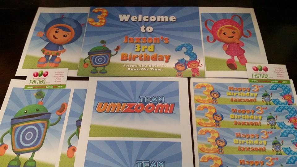 Umizoomi party in a box   Team Umizoomi banner, signs, plates, cups...