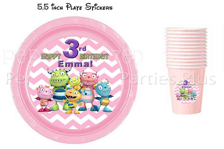 Henry Hugglemonster plate and cup labels