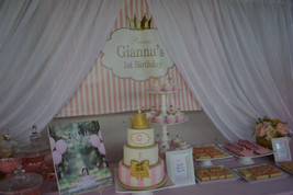 Pink and white striped Princess backdrop - $55.00
