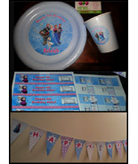 Frozen birthday party pack: plates, cups, banner, water bottle labels & ... - $54.99