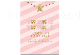 Twinkle twinkle little star sign | pink and gold sign | baby shower sign... - $4.00
