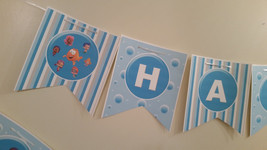 Bubble Guppies birthday banner in blue stripes and bubbles - $12.50