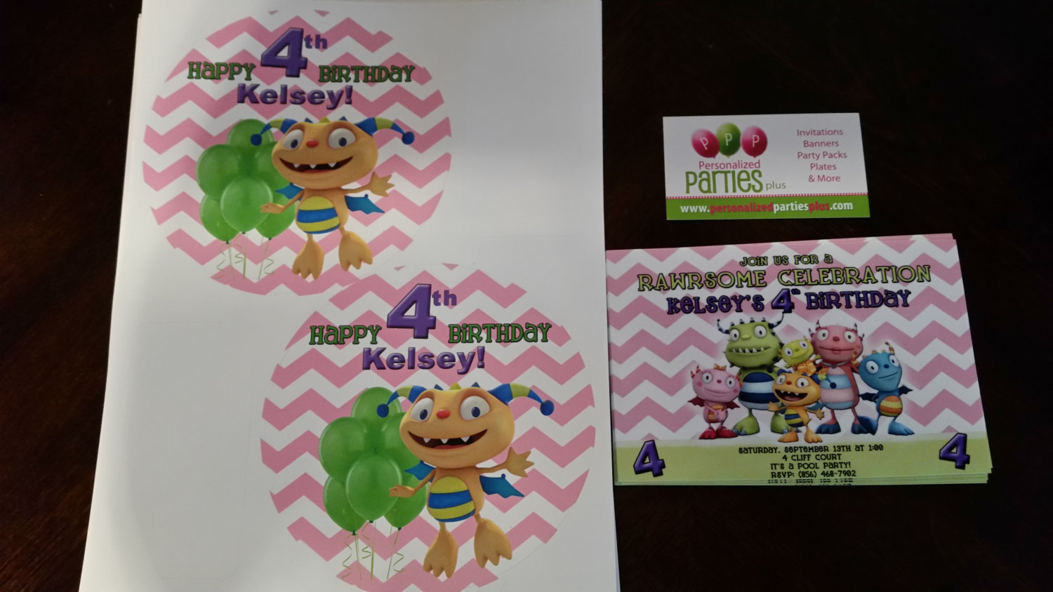 Printable Henry Hugglemonster personalized birthday party stickers