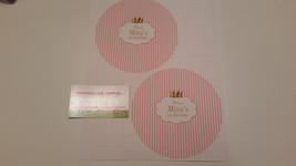 Pink and white princess striped plate stickers - $20.00