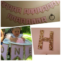 """Pink and gold """"Happy Birthday"""" Banner and highchair banner - $24.99"""