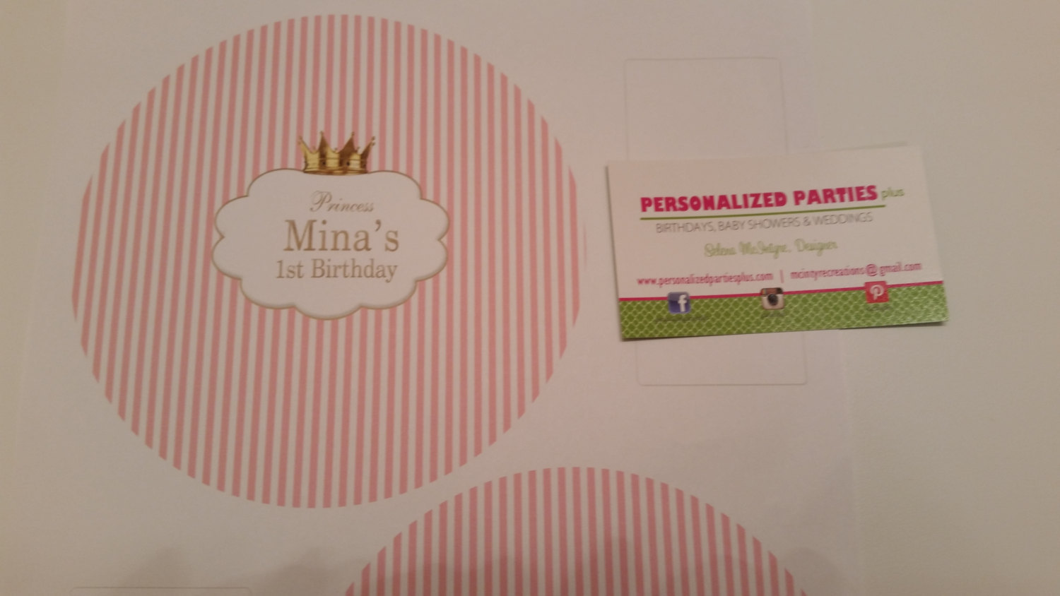 Pink and white princess striped plate stickers