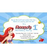 Little Mermaid - Princess Ariel Birthday Party Invitation with blue stripes - $8.99