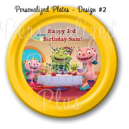 Henry Hugglemonster plate, cups and treat bag stickers