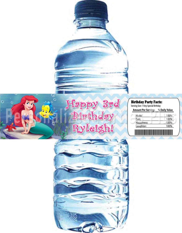 Little Mermaid water bottle labels