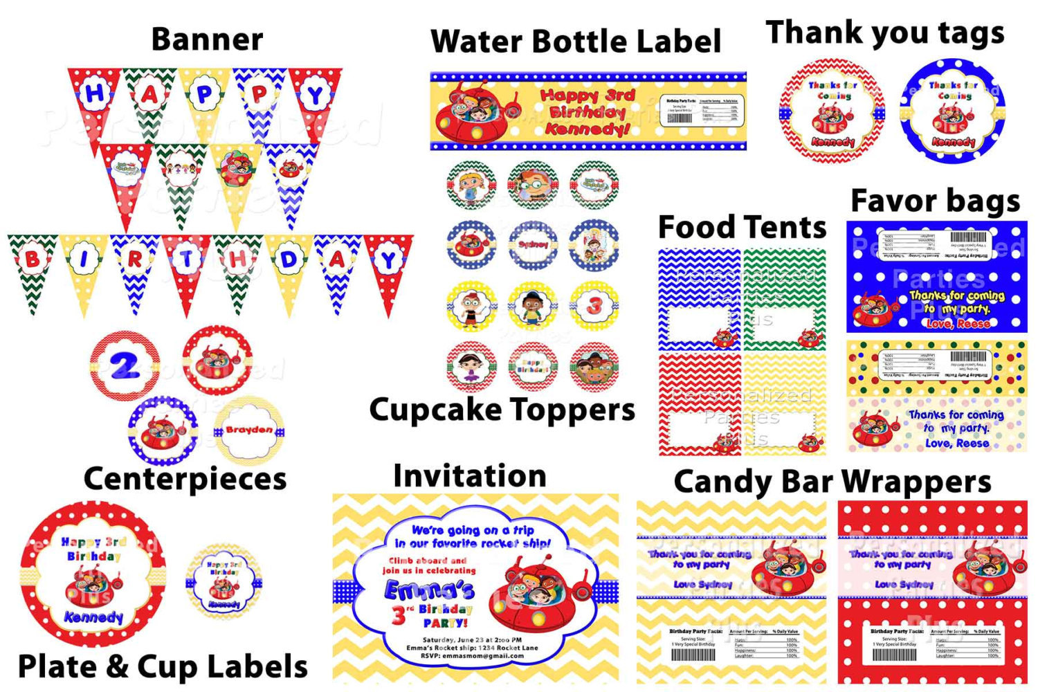 Little Einsteins birthday party pack: banner, invitation, cupcake toppers, water