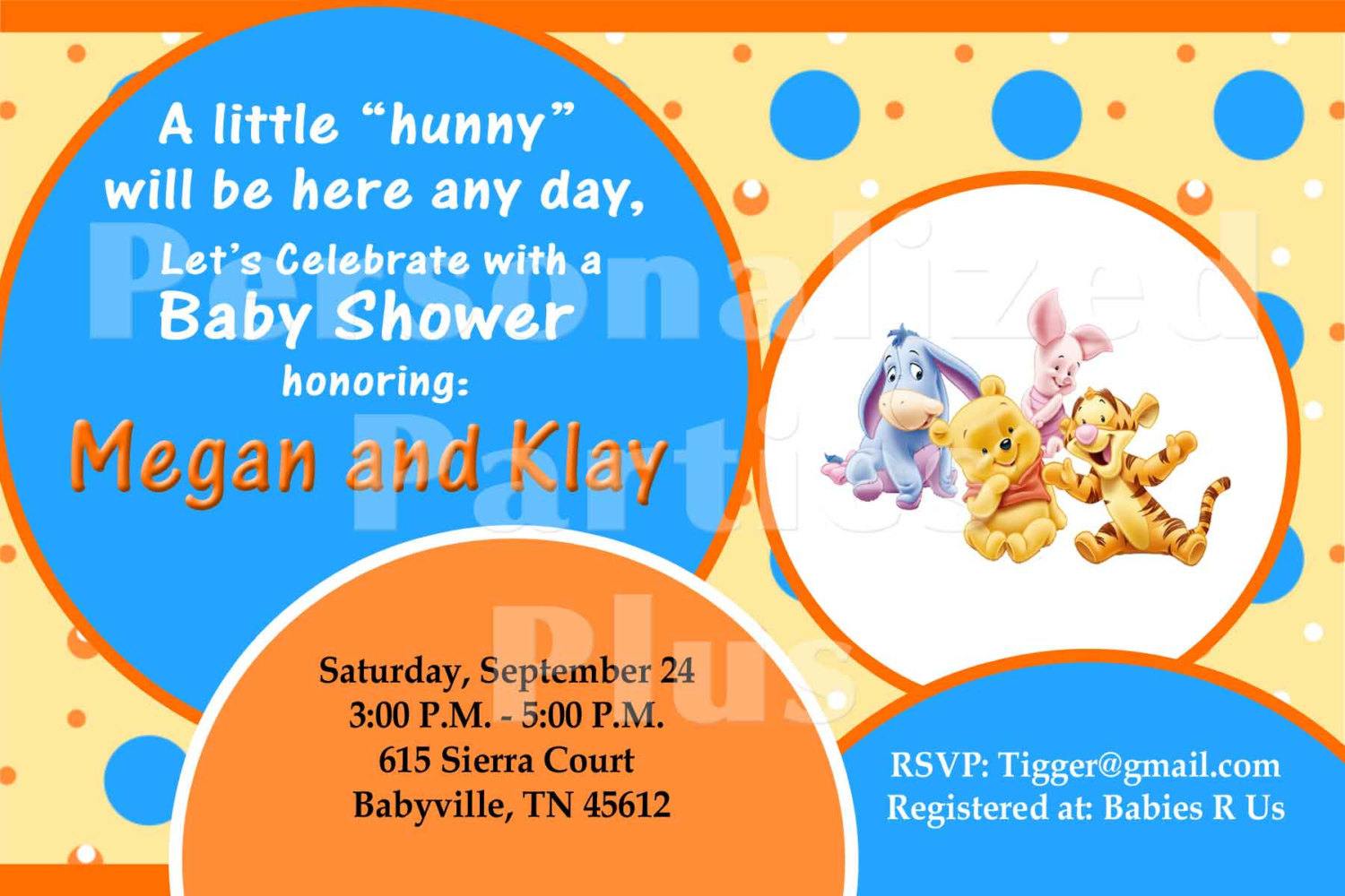 Tigger Baby Shower Invitation