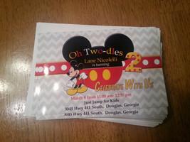 Mickey Mouse birthday invitation in grey chevron print - $8.99