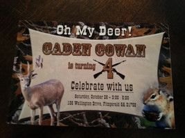 Deer hunting birthday invitation that has a camouflage background - $8.99