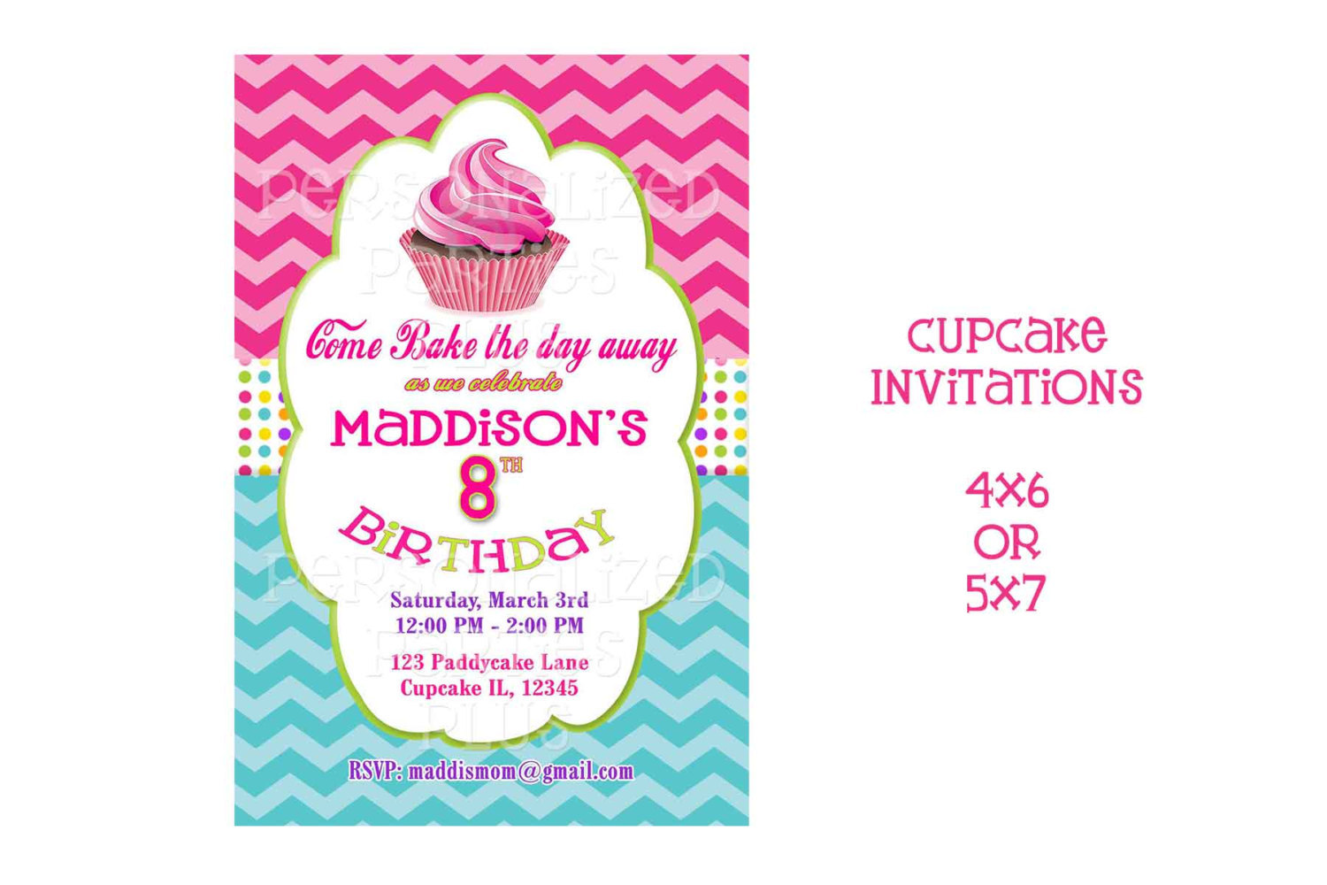 Cupcake baking party Invitation in chevron print and polka dots