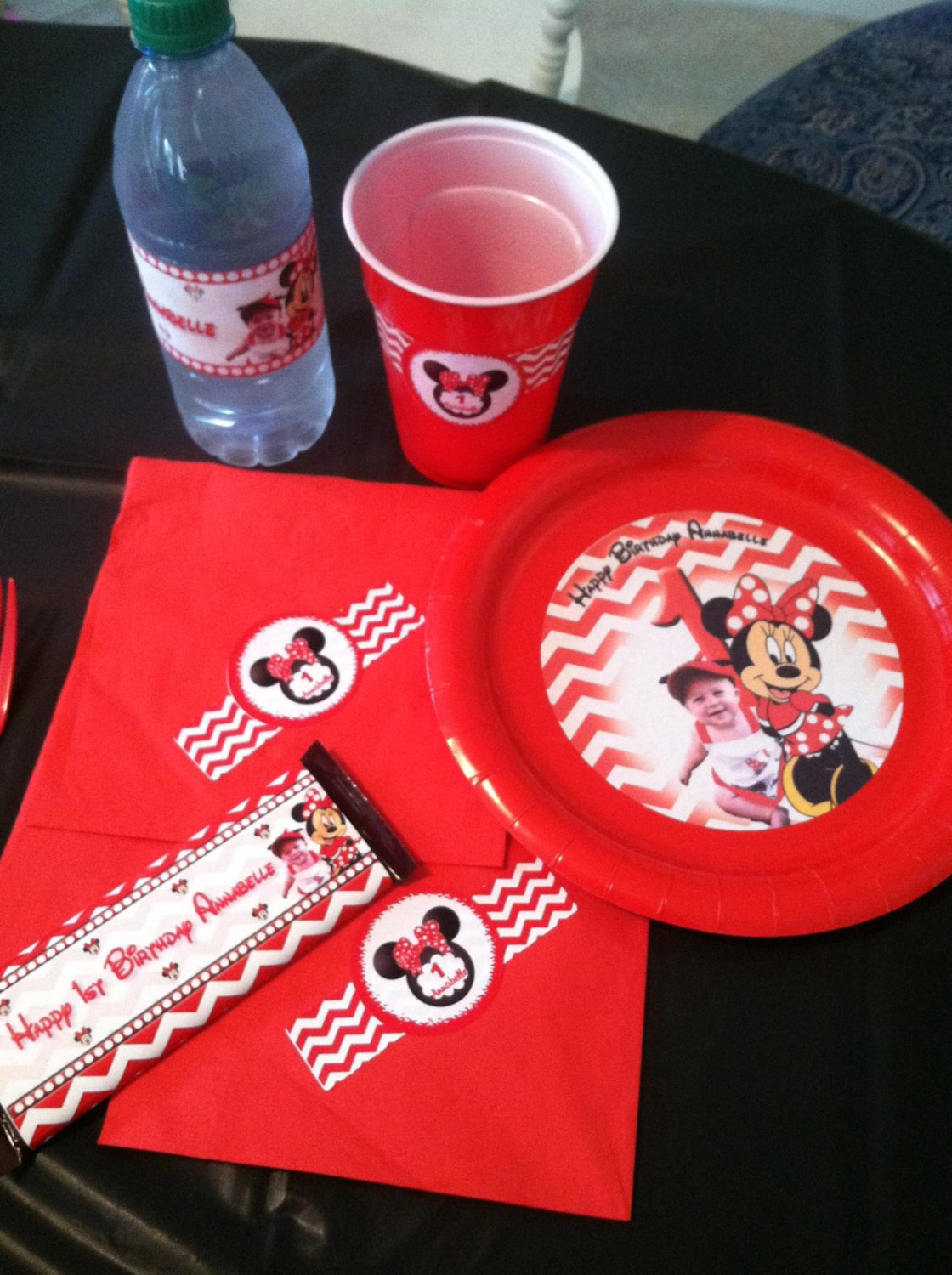 Minnie Mouse water bottle labels | red Minnie Mouse water bottle labels | Minnie