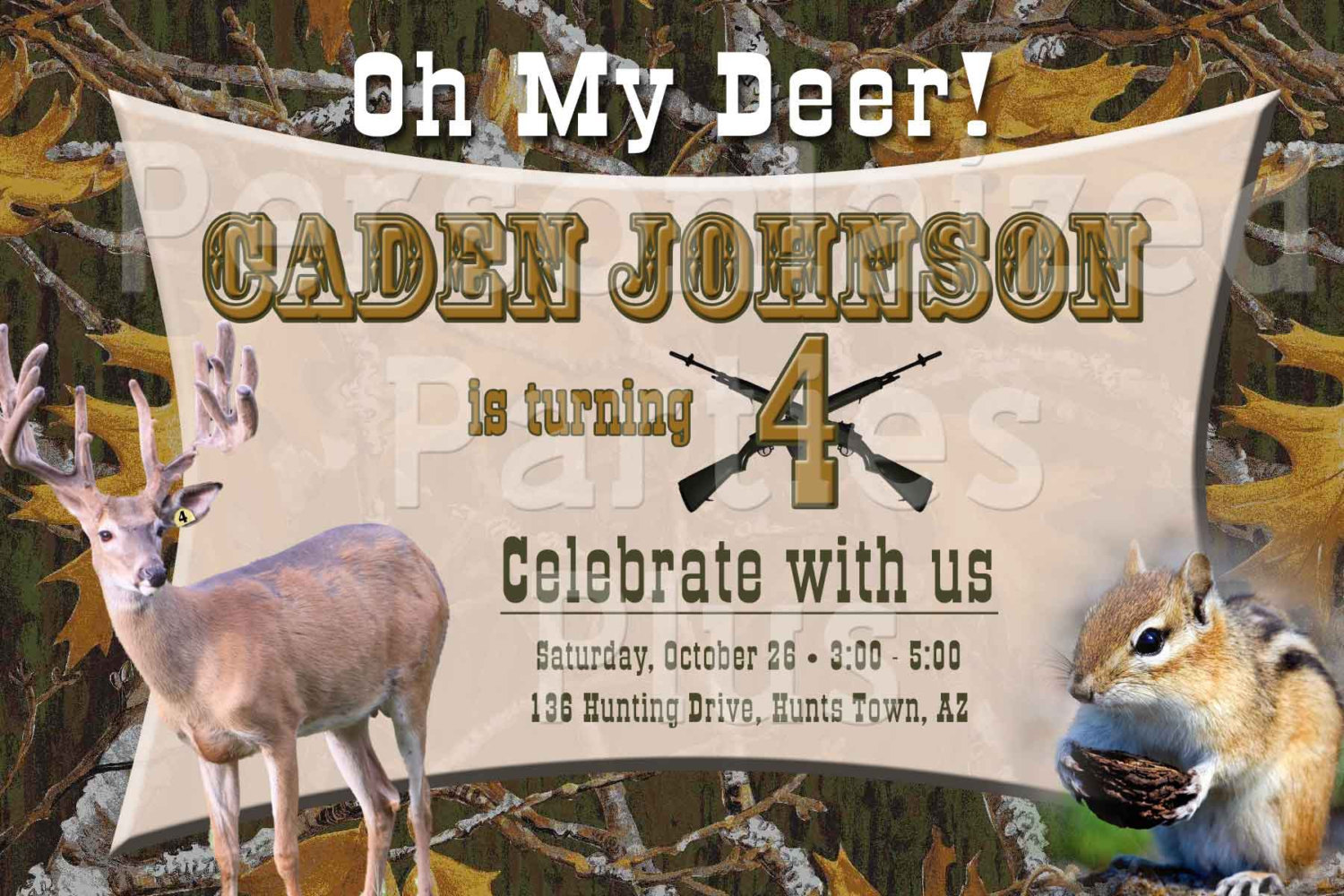Deer hunting birthday invitation that has a camouflage background