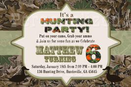 Hunting camouflage birthday invitation, camo invitation, hunting invitat... - $8.99
