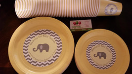 Elephant dinner and dessert plates and cups in chevron print - $49.99