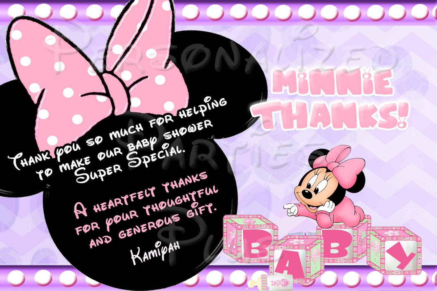 Baby Minnie Mouse Baby Shower Thank you card