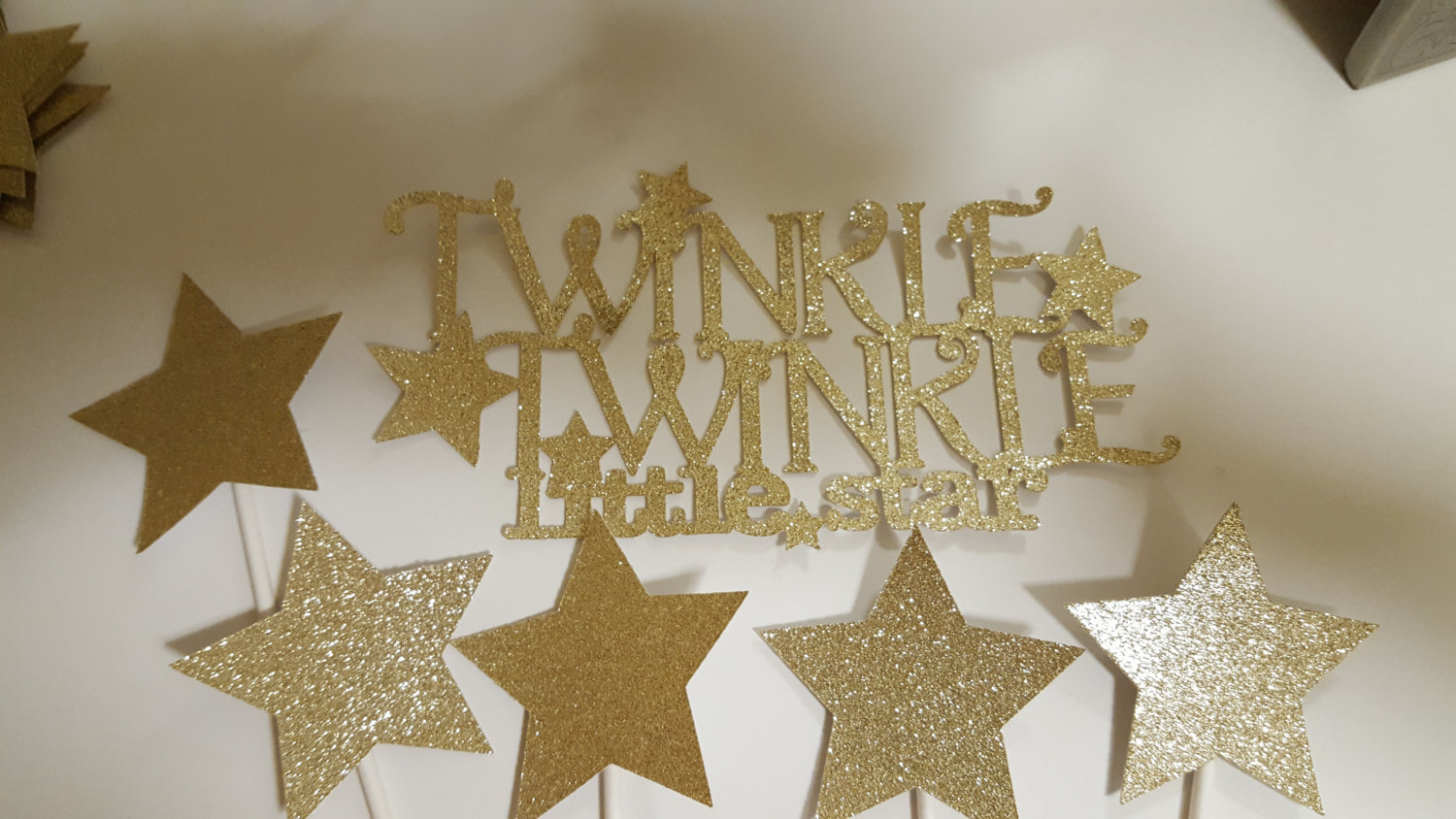 Gold star Cupcake Toppers | Twinkle twinkle little star cupcake toppers: Set of
