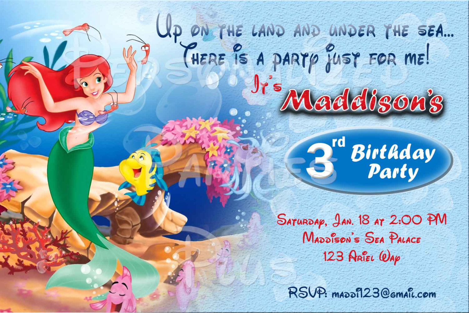The Little Mermaid invitations in three different styles all have Princess Ariel