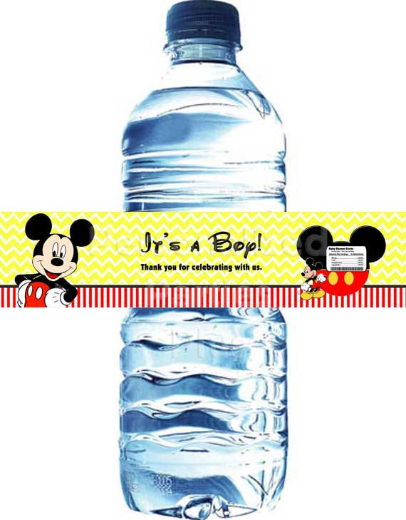 Mickey Mouse baby shower water bottle labels | Mickey Mouse water bottle wrapper