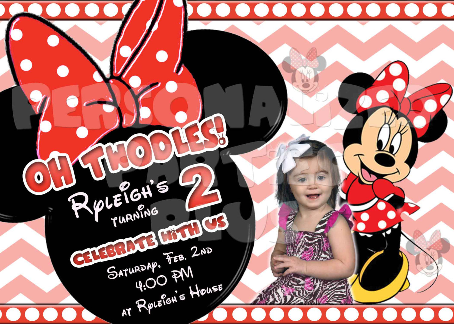 Minnie Mouse invitations in pink or red