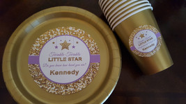 Twinkle Twinkle Little Star plates and cups | baby shower plates | birth... - $34.99