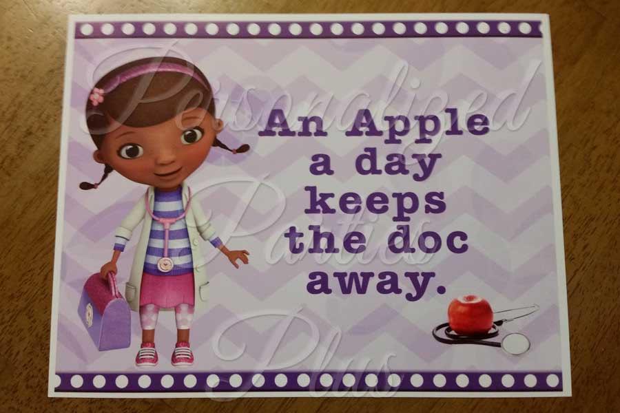 Doc McStuffins an apple a day keeps the doc away Sign: Instant Download & Printa
