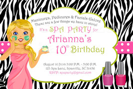 Spa Birthday Party Invitations: Zebra print and hot pink and lime green - $8.99