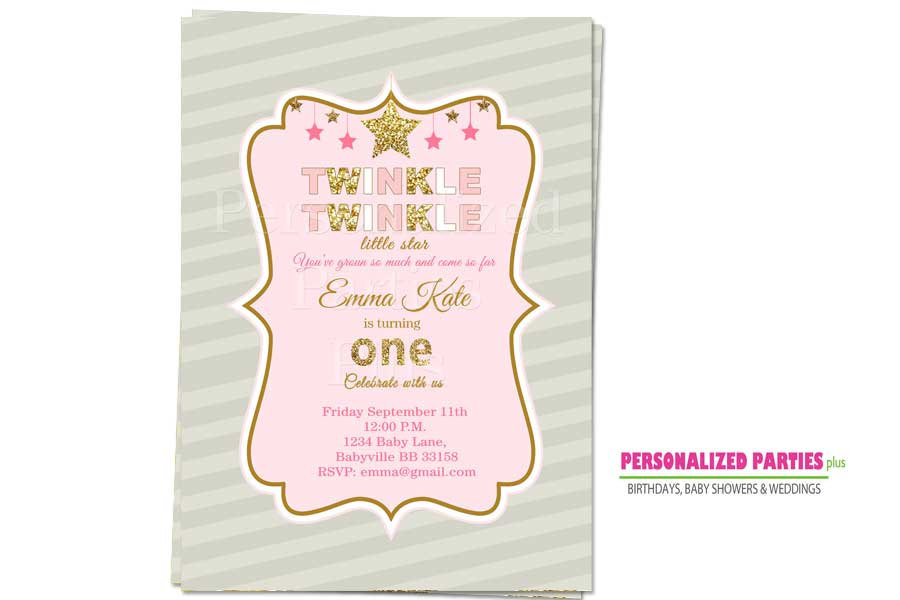 Twinkle twinkle little star birthday Invitations |  Pink and Gold birthday invit