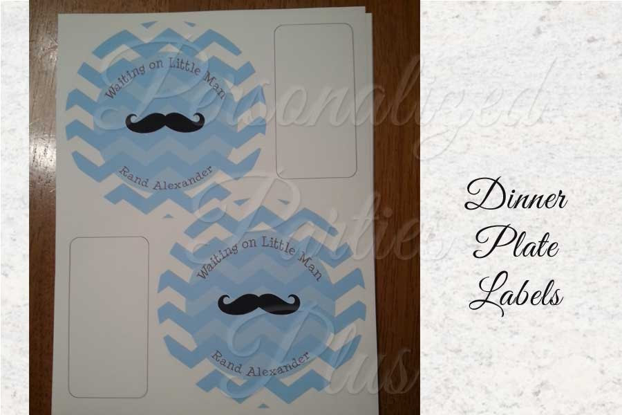 Chevron monogrammed plates stickers with mustache for birthdays or baby showers