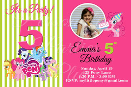 My little pony birthday party invitations in hot pink and lime green - $8.99