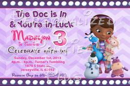 Doc McStuffin Birthday Party Invitations: Purple Chevron print - $8.99