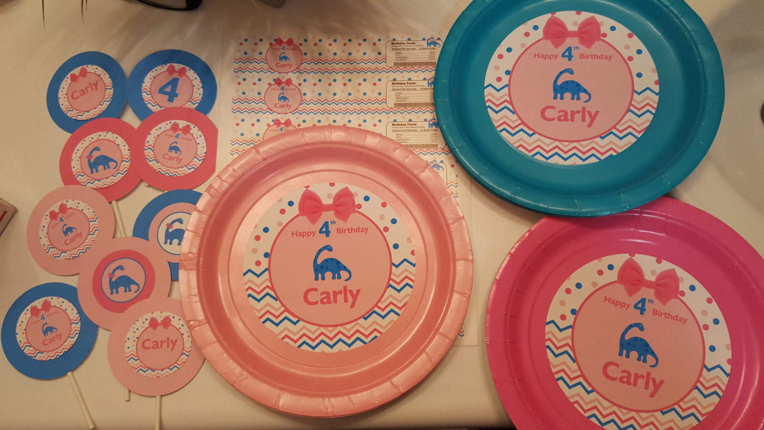 Dinosaur plates | Dinosaur birthday plates for girls