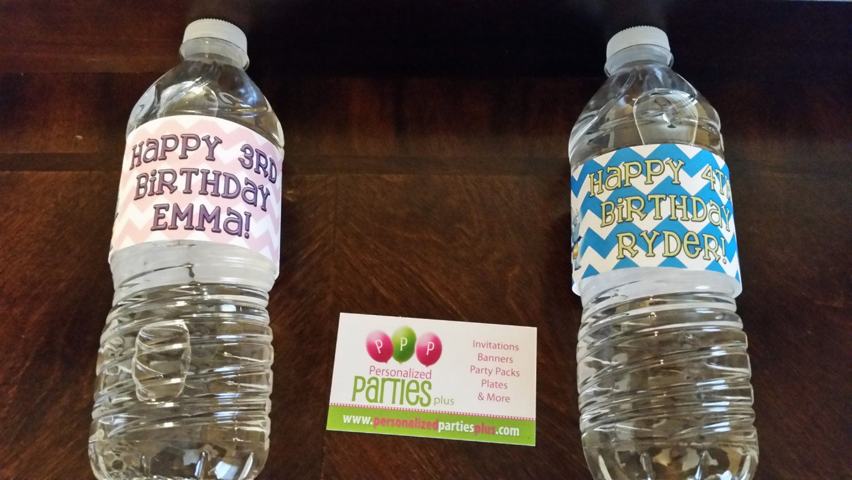 Henry Hugglemonster chevron birthday water bottle labels