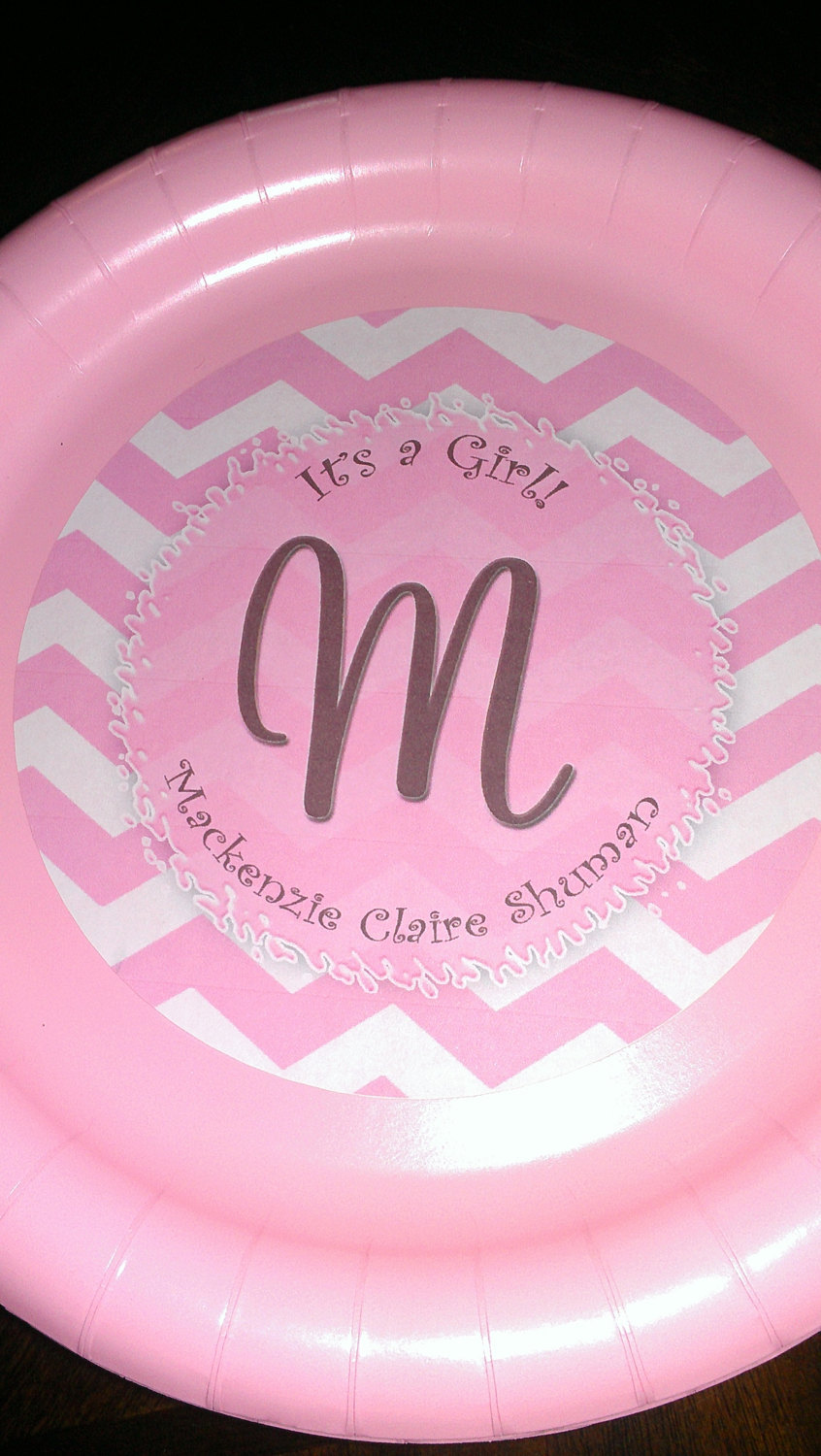 Pink chevron plates | Pink plates for birthdays or baby showers | Baby shower pl