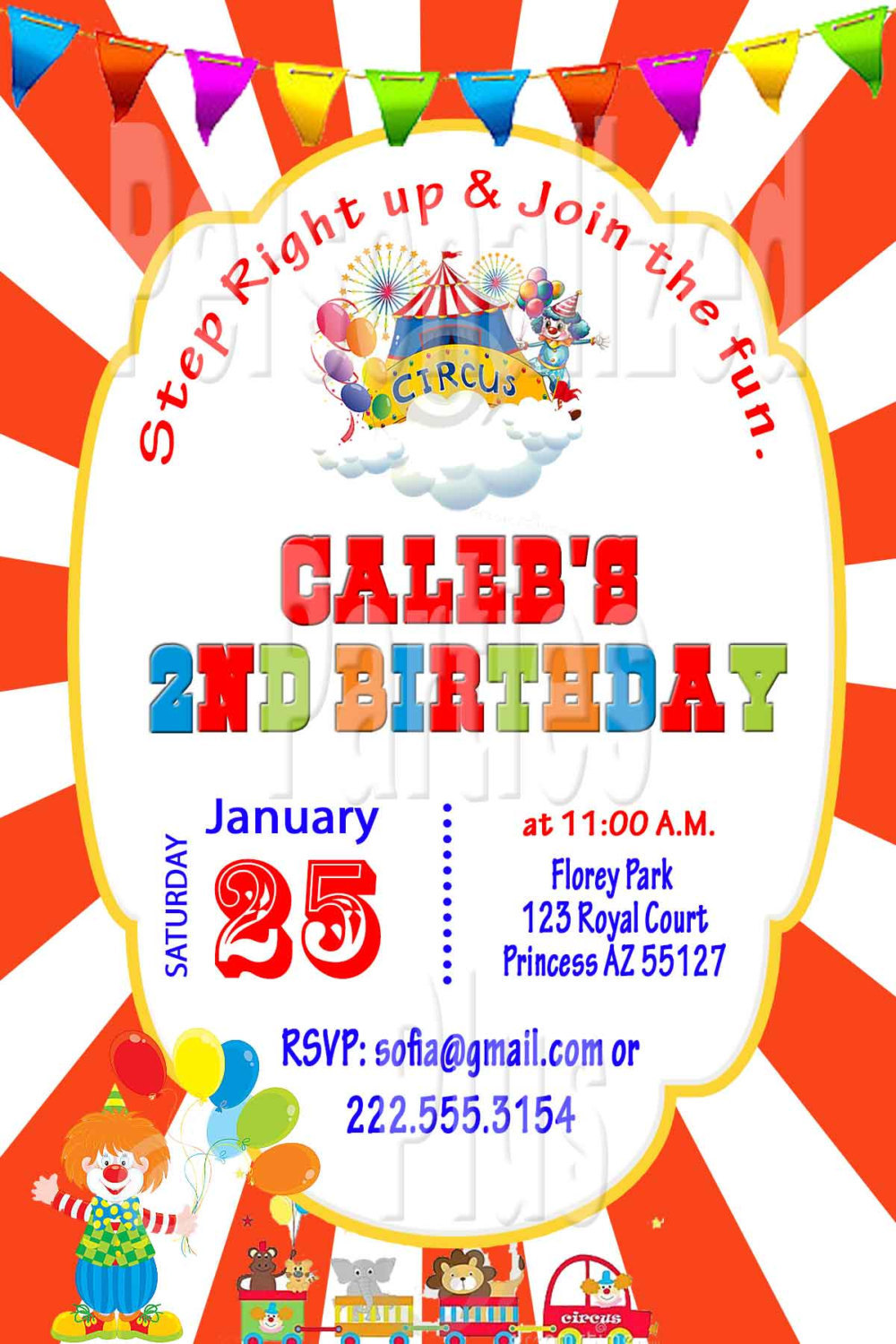 Circus style birthday Invitations: varous designs to choose from
