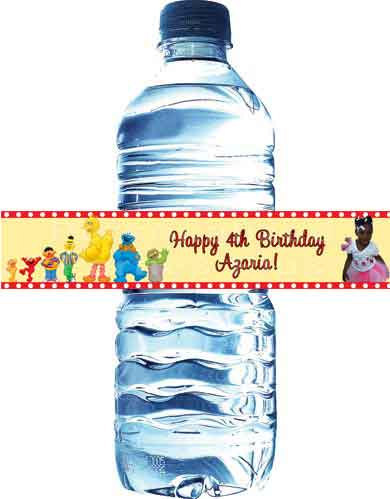 Sesame Street birthday water bottle labels: Downloadable & Printable
