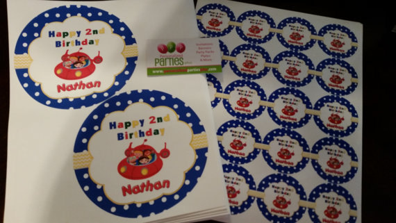 Little Einsteins plate labels, cup labels and banner set of 24