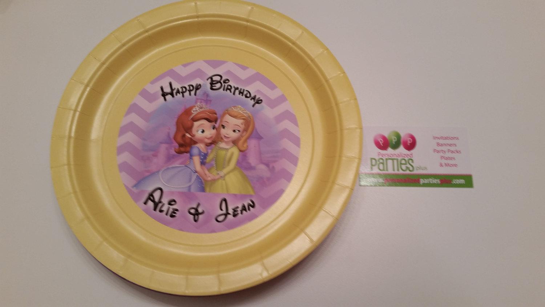 Sofia and Amber plates | Sofia the first plates | birthday plates | Sofia and Am