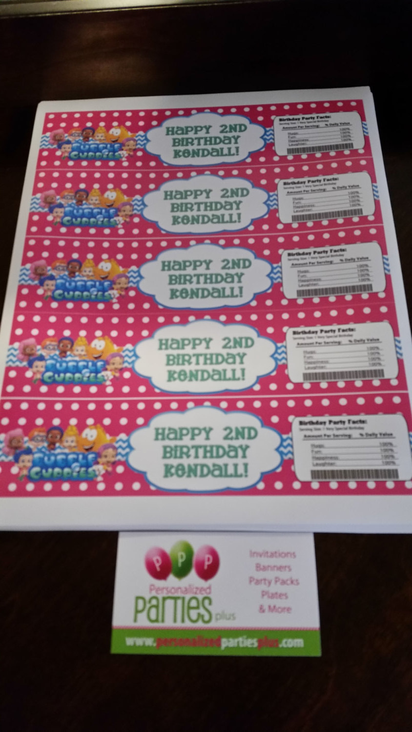 """Bubble Guppie """"Happy Birthday"""" water bottle labels: Downloadable & Printable"""