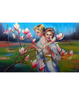 33x53 inch Oil Painting Original Hand Painted Medium Size Women Flower Farm - $320.00