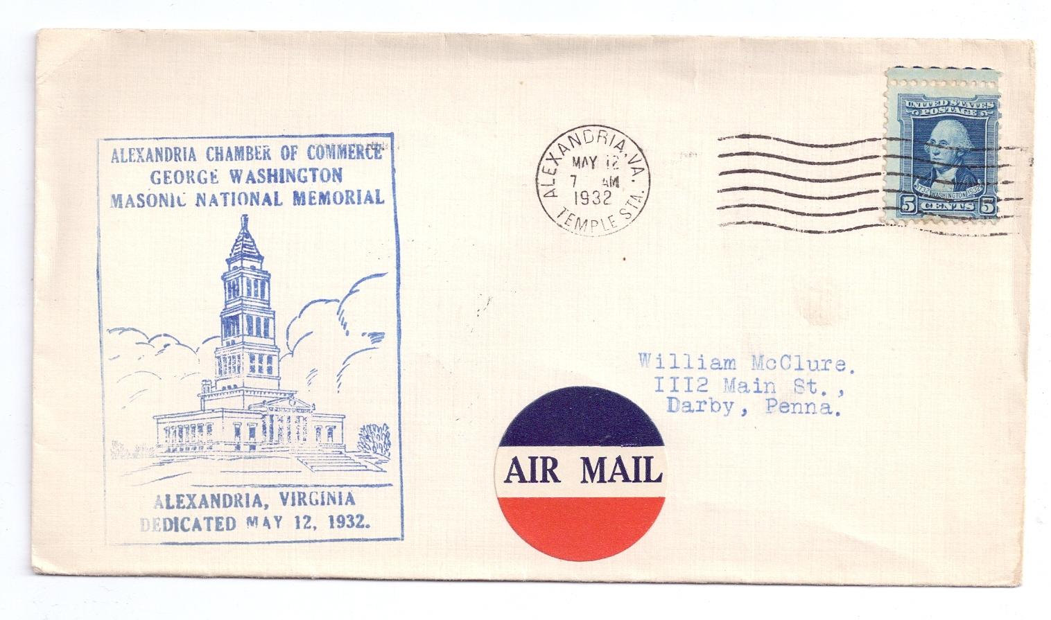Alexandria VA George Washington Masonic National Memorial Dedication.Cover 1932